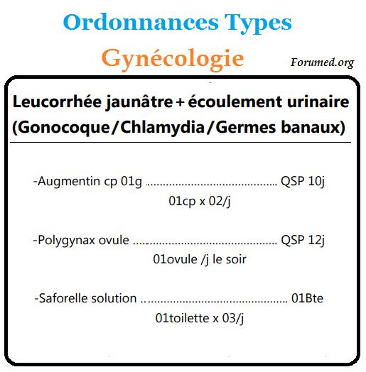 Ordonnances Types Leucorrhee jaunatre ecoulement urinaire