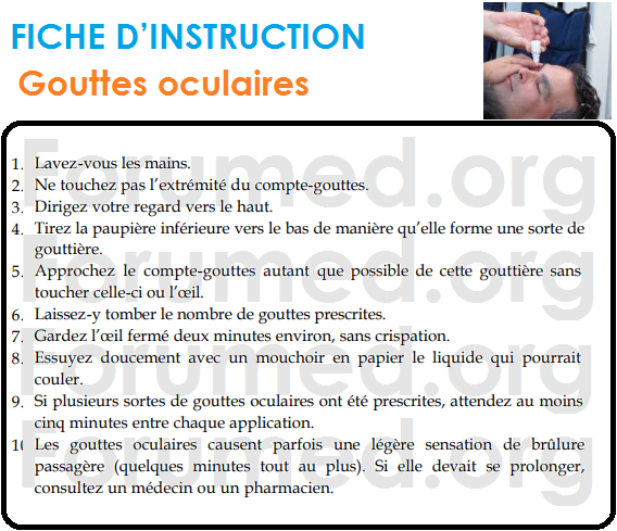 Gouttes oculaires: FICHE D'INSTRUCTION