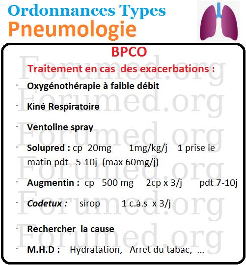 Traitement des exacerbations de broncho-pneumopathie chronique obstructive BPCO