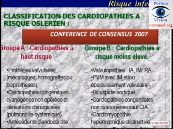 Cardiopathies à risque d'endocardite infectieuse